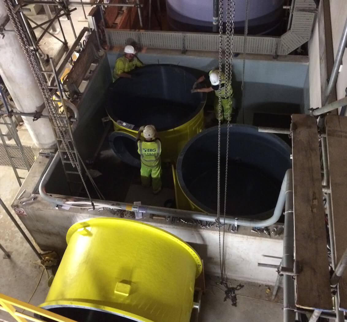 Chemical storage tank upgrade install