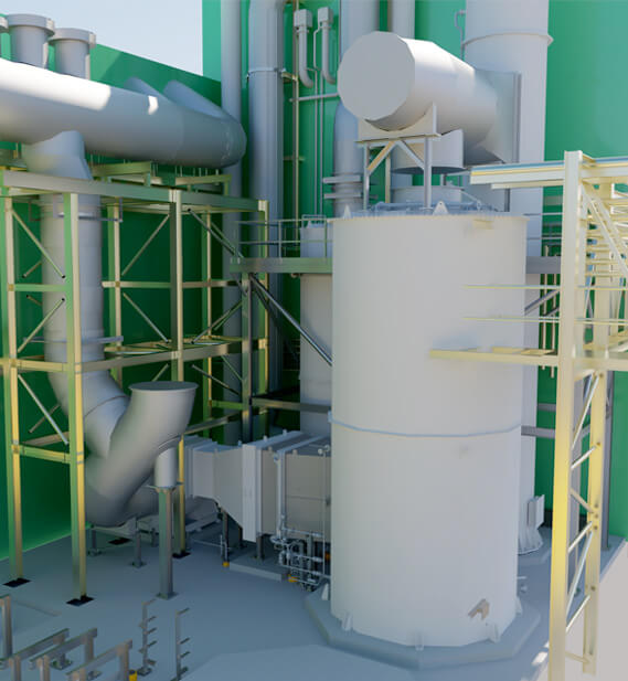 Odour control plant rendered model